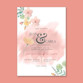 Bloemen bruiloft kaart concept