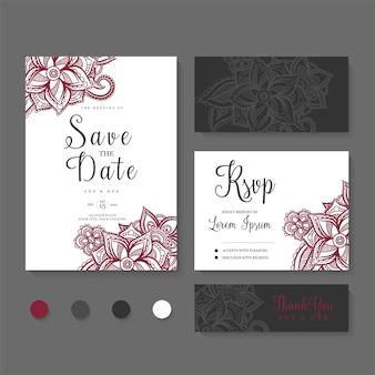 Bloemen bruiloft kaartenset