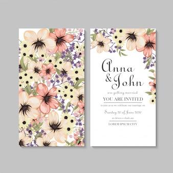 Bloemen bruiloft kaartsjabloon met geel patroon
