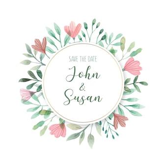 Bloemen bruiloft kaartsjabloon