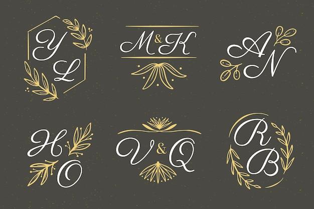 Bloemen bruiloft logo's