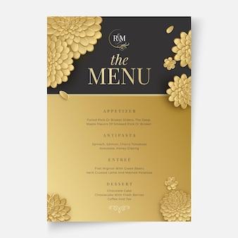 Bloemen bruiloft menu concept