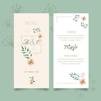 Bloemen bruiloft menu