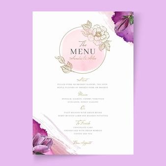 Bloemen bruiloft menusjabloon