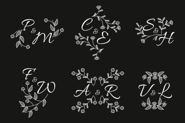 Bloemen bruiloft monogram collectie concept