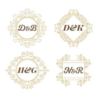 Bloemen bruiloft monogrammen thema