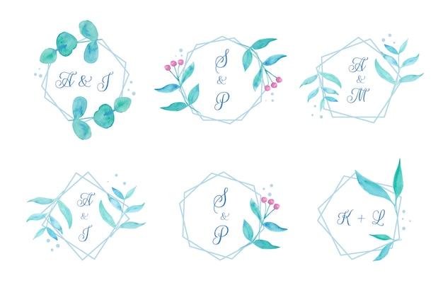 Bloemen bruiloft monogrammen