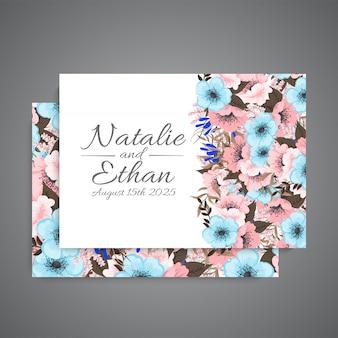 Bloemen bruiloft sjabloon roze en lichtblauwe bloemen