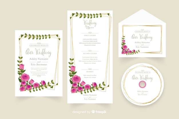 Bloemen bruiloft stationaire sjabloon collectie