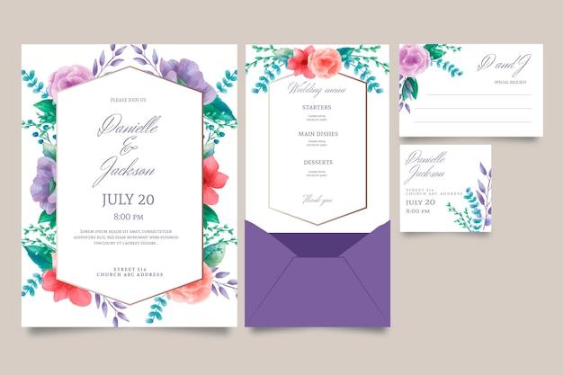 Bloemen bruiloft uitnodiging concept