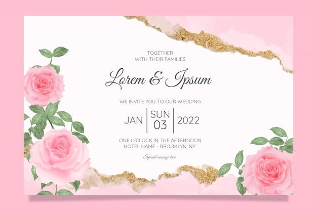 Bloemen bruiloft uitnodiging kaarten sjabloon met aquarel bloemen frame achtergrond