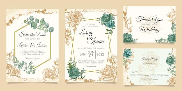Bloemen bruiloft uitnodiging kaarten sjabloon set