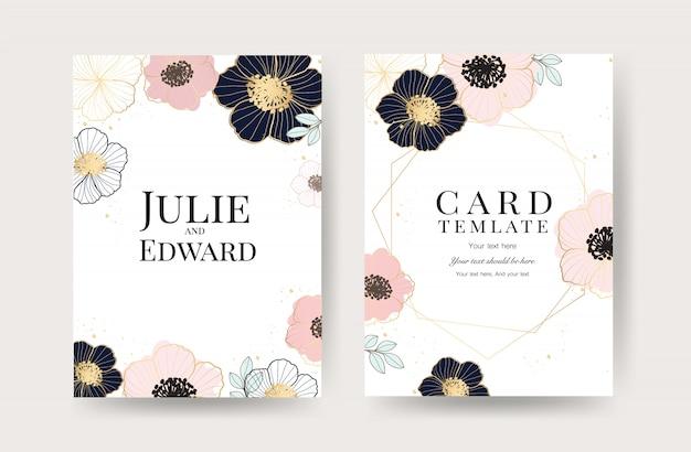 Bloemen bruiloft uitnodiging kaarten sjabloon