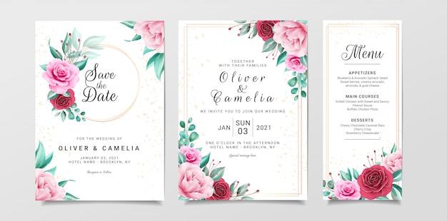 Bloemen bruiloft uitnodiging kaartsjabloon ingesteld met aquarel bloemen decoratie