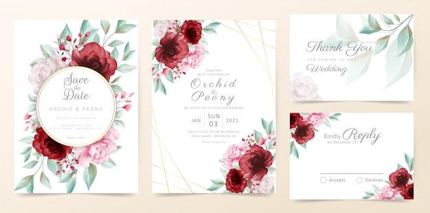 Bloemen bruiloft uitnodiging kaartsjabloon ingesteld met aquarel bloemen en gouden decoratie