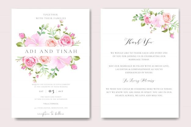 Bloemen bruiloft uitnodiging kaartsjabloon met bloemen krans
