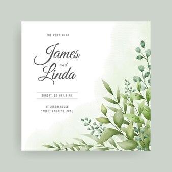 Bloemen bruiloft uitnodiging kaartsjabloon met handgetekende bladeren ontwerp
