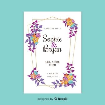 Bloemen bruiloft uitnodiging kaartsjabloon