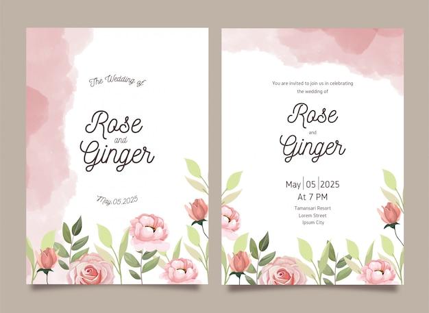 Bloemen bruiloft uitnodiging set sjabloon kaartenset