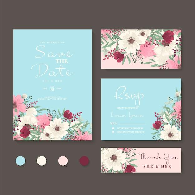 Bloemen bruiloft uitnodiging set