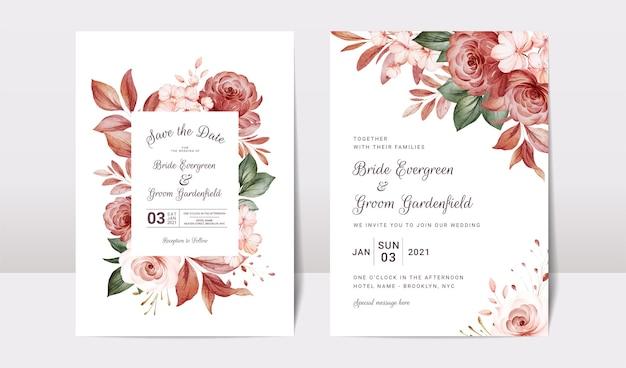 Bloemen bruiloft uitnodiging sjabloon set met goud bordeaux