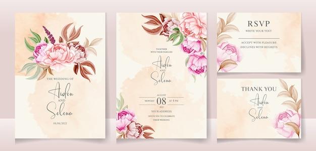Bloemen bruiloft uitnodiging sjabloon set met gouden bordeauxrode bladeren met romige waterkleur splash