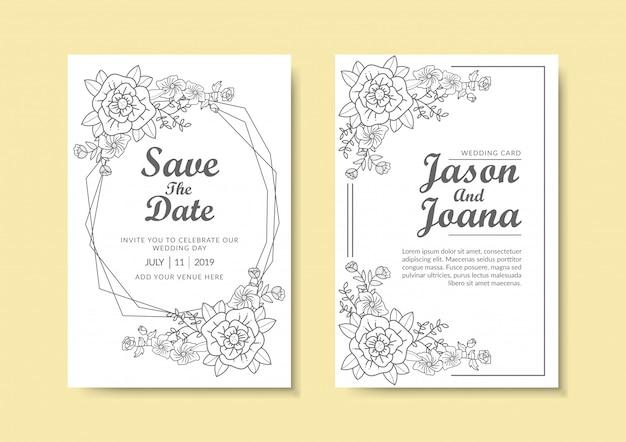 Bloemen bruiloft uitnodiging sjabloon.
