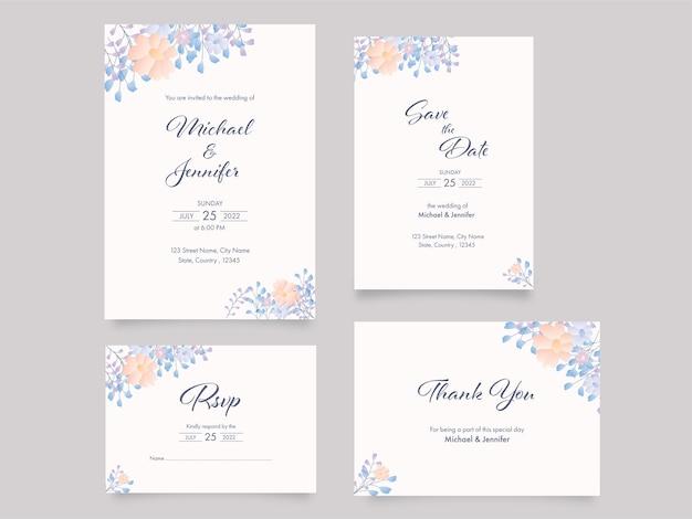Bloemen bruiloft uitnodiging suite sjabloon lay-out op grijze achtergrond.