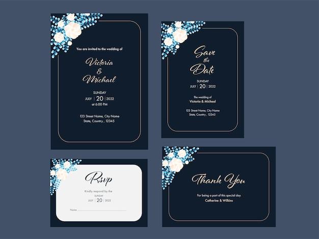 Bloemen bruiloft uitnodiging suite sjabloon lay-out op leisteen grijze achtergrond.