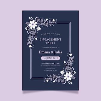 Bloemen bruiloft uitnodiging
