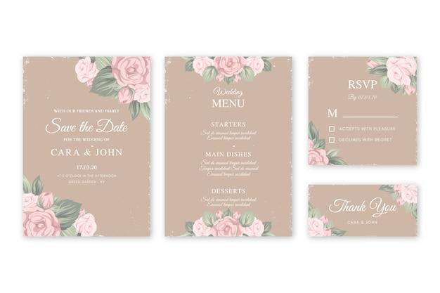 Bloemen bruiloft uitnodigingen sjabloon
