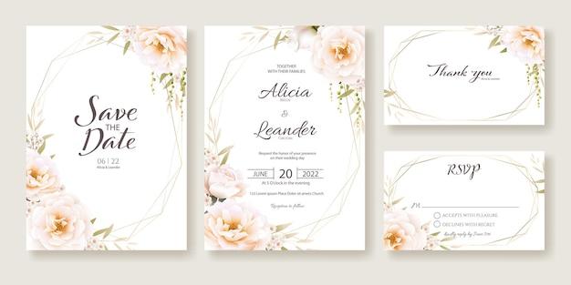 Bloemen bruiloft uitnodigingskaart, bewaar deze datum, bedankt, rsvp-sjabloon.
