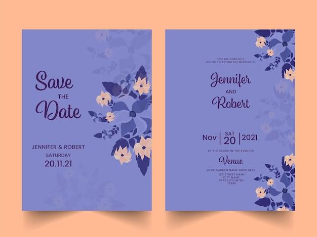 Bloemen bruiloft uitnodigingskaart en bewaar de datumsjabloon in blauwe kleur.