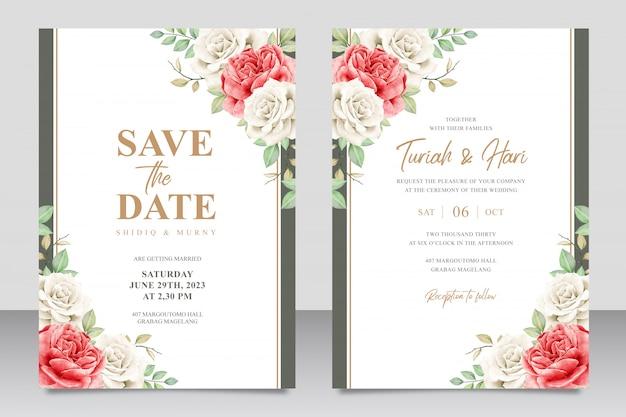 Bloemen bruiloft uitnodigingskaart ingesteld sjabloon met gouden frame