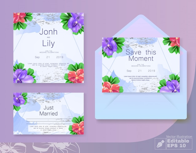 Bloemen bruiloft uitnodigingskaart instellen met envelop