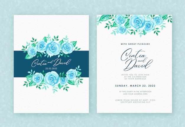 Bloemen bruiloft uitnodigingskaart met blauwe aquarel bloemen