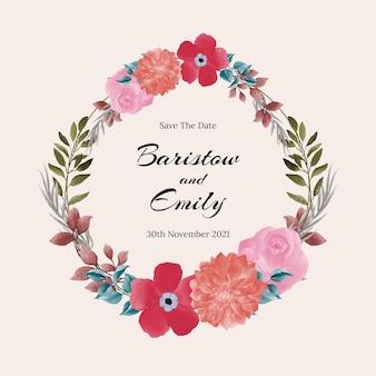 Bloemen bruiloft uitnodigingskaart ontwerp met aquarel bloemen en bladeren