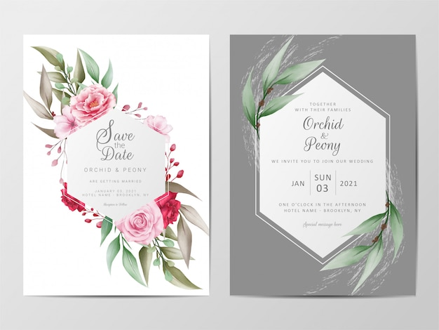 Bloemen bruiloft uitnodigingskaarten sjabloon set met geometrische frame