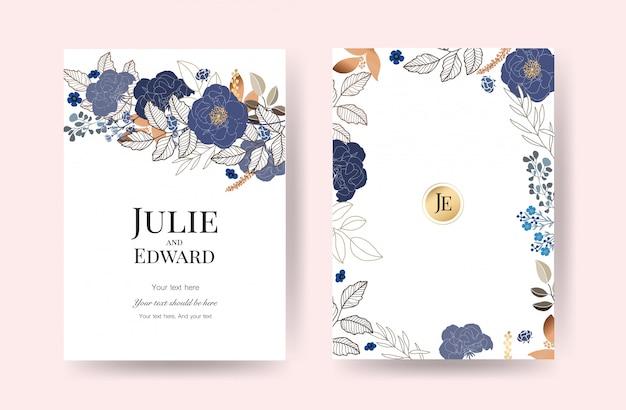 Bloemen bruiloft uitnodigingskaarten vector