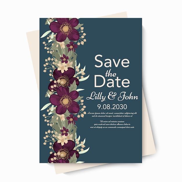 Bloemen bruiloft vector sjabloon