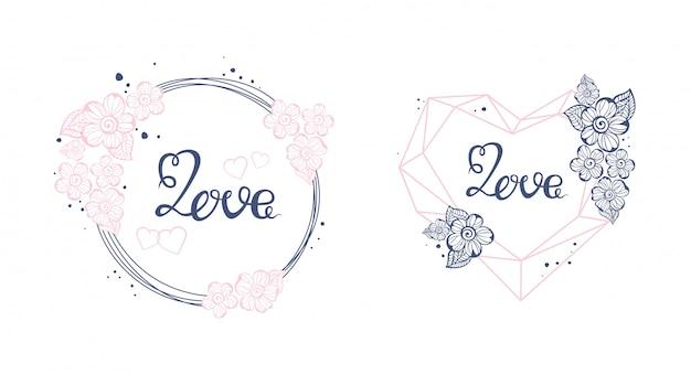 Bloemen de liefdeteken van de kunstaard met hand getrokken elementenontwerp. valentine briefkaart