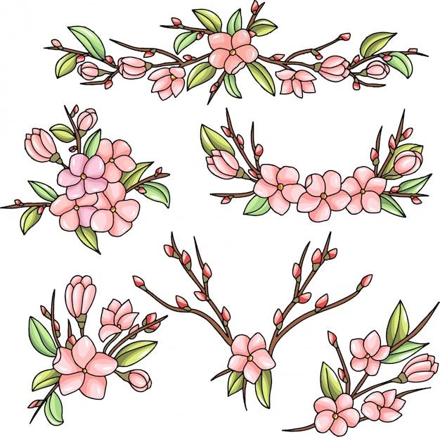 Bloemen decoratieve ornamenten met bloeiende bloemen