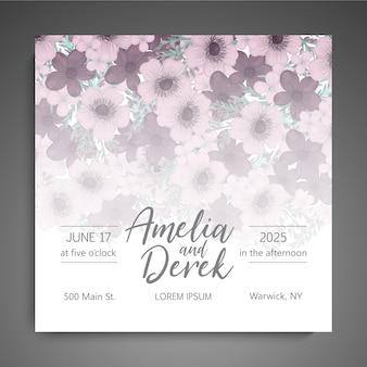 Bloemen elegante huwelijksuitnodiging uitnodigekaart