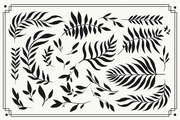 Bloemen element silhouet graphics. handgetekende eenvoudige botanische plantillustraties.