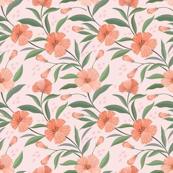 Bloemen en blad in vintage naadloze kleurenpatroon.