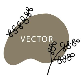 Bloemen en bladeren, banner met vlekvorm vector
