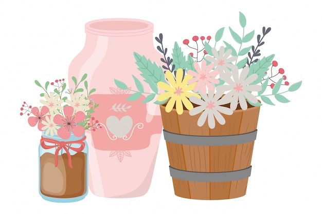 Bloemen en bladeren in potten