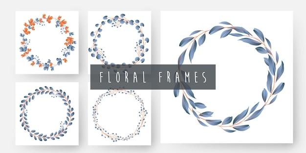 Bloemen en bladeren krans frames