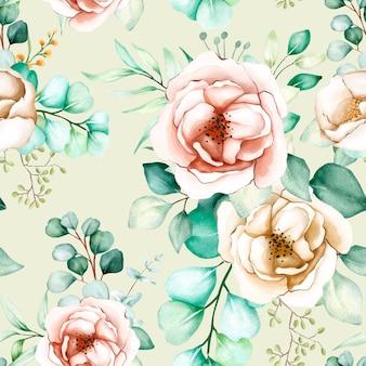 Bloemen en bladeren naadloos patroon