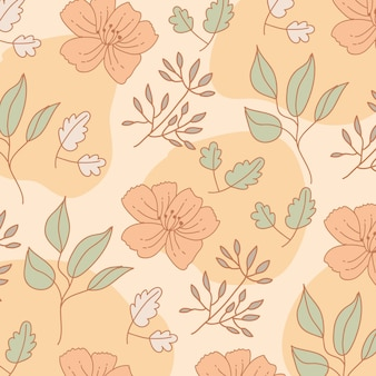 Bloemen en bladeren patroon achtergrond. vintage-stijl. Premium Vector